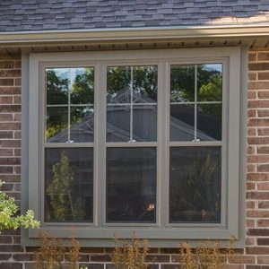 3-Lite Single Hung with Grilles in Top Sash