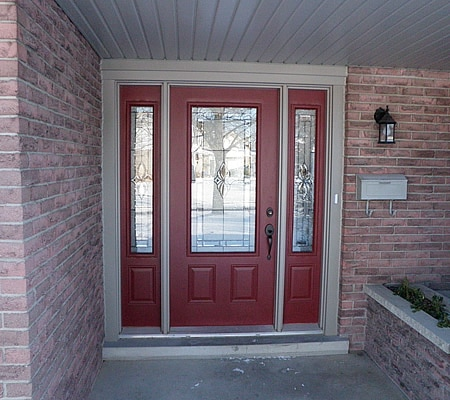 Red Door and Sidelites with Pebble Frame