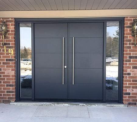 smooth fiberglass door, contemporary front entrance